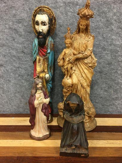 Lot de statues dont Vierge en plâtre  Vierge...