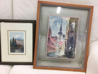 Suite de deux aquarelles  Vue de ville et...
