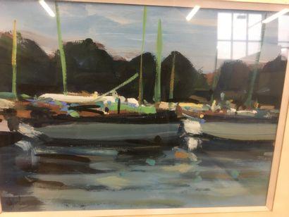 De JORDAN  Paysage et marine  Gouache sur carton  18 cm x 24 cm