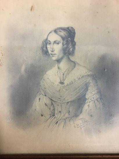 A de PITRAE  Jeune Fille Dessin sur papier , datée 1839  22 x 17 cm
