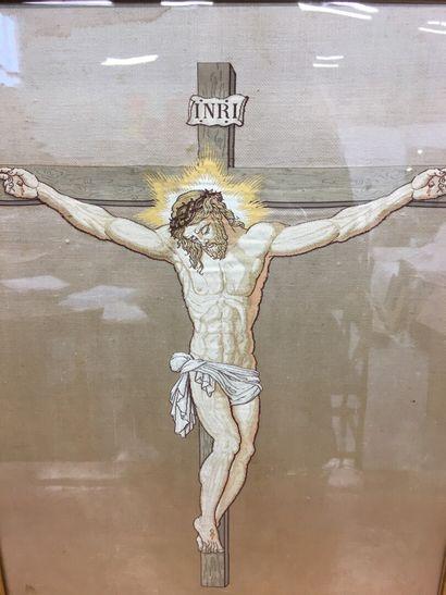 Broderie sur soie  crucifixion  57 x 43 cm