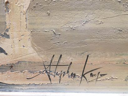 Stephen KAYNE (XXème)  Skyline,  Huile sur toile  Signée en bas à droite  (acci...