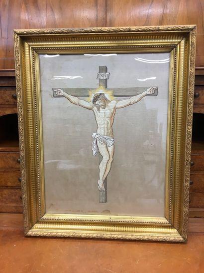 Broderie sur soie  crucifixion  57 x 43 ...