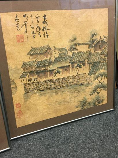 Deux estampes japonaises  Sur papier de riz  42 x 42 cm