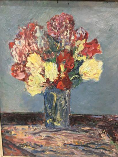 RAMON  Bouquet de fleurs  Huile sur toile  46 x 54 cm  Cachet d'atelier au reve...