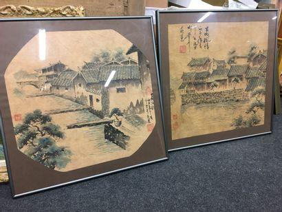 Deux estampes japonaises  Sur papier de riz...