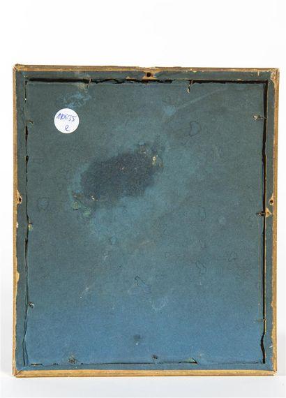 Pastorale  Huile sur carton à vue ovale  15, 5 x 13 cm