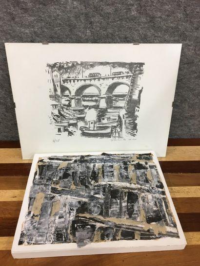 Deux pièces encadrées  Vue de ville  Lithographie...