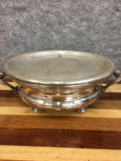 Chauffe plat circulaire en métal argenté...