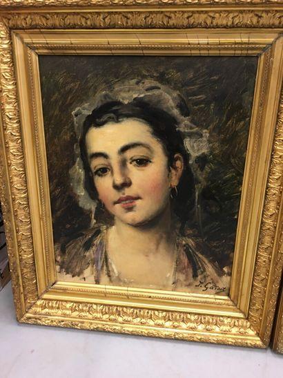 J.GARDOT  Pauire de portraits de jeune fille  huile sur toile, signées en bas à...
