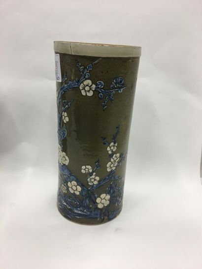 Vase cylindre en grès émaillé  H : 29.5 ...