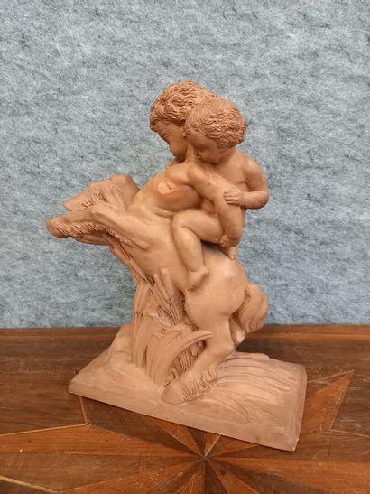 S. CLERC  Amour chevauchant un jeune centaure...
