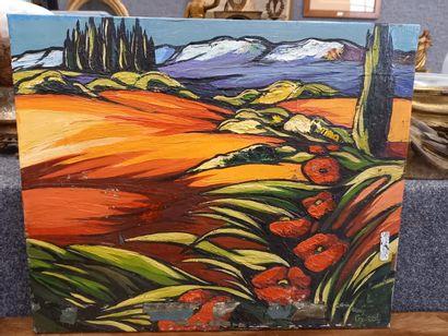 Paysage de Provence  Huile sur toile  Signée...