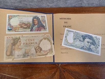 Carnet bleu francs collector avec billet