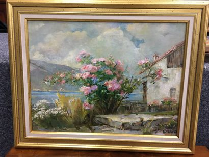 Pierre EULER (1846-1916)  Paysage au rosier...