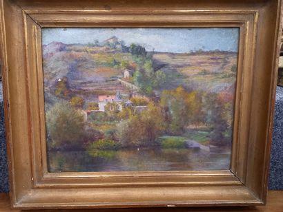 Bernard  Paysage  huile sur carton  24 x...