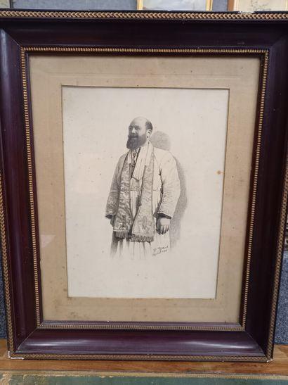 VAILLANT  Portrait d'un ecclesiastique  dessin,...