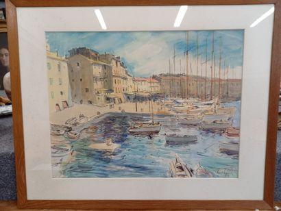 E.TARR  Port de St Tropez  Aquarelle  47...