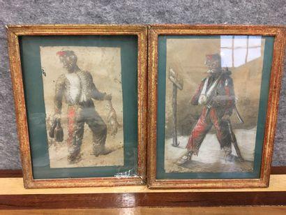 Paire de dessin  Soldats : retour de Waterloo...