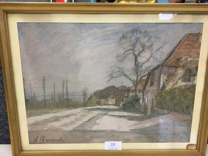 Louis GARRAUD,  paysage  aquarelle sur papier,...