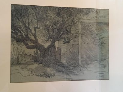 Paul BOREL  Paysage lyonnais  dessin au crayon...