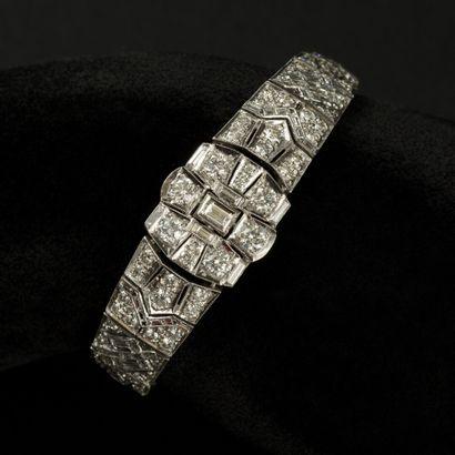Bracelet en or blanc 18k (750) entièrement...