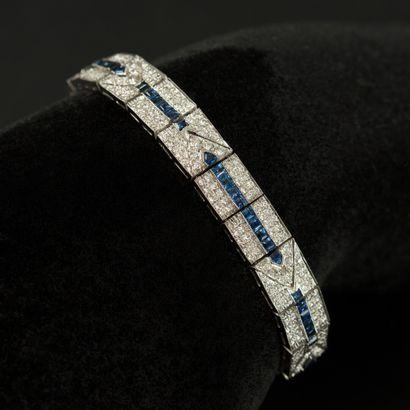 Bracelet ruban en or blanc 18 K (750) maillons...