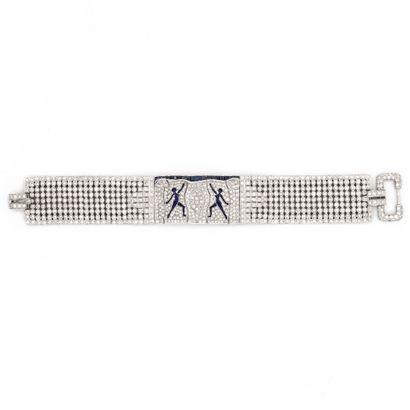 Bracelet ruban en or blanc (750) 18K pavé...