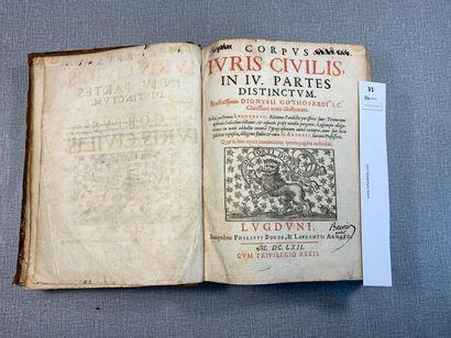 Corpus Juris Civilis. 1 volume relié cuir....