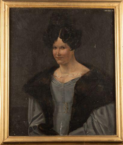 Ecole française vers 1830  Portrait de femme...