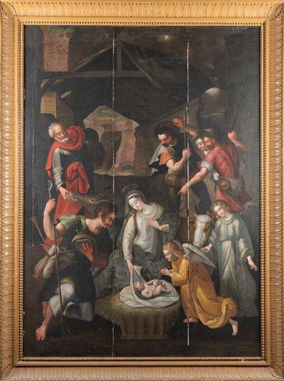 Ecole flamande du 17ème siècle  Nativité,...