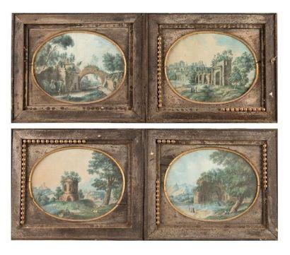 Paysages d'Italie  Suite de quatre aquarelles...