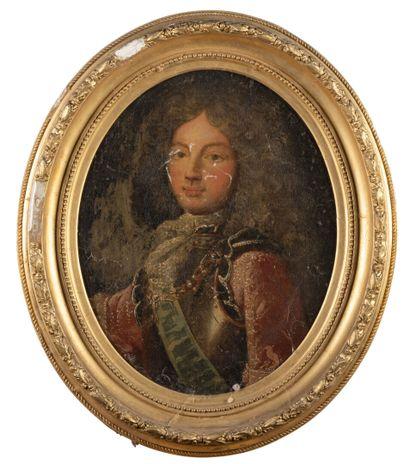 Ecole française du 18ème  Portrait d'officier...
