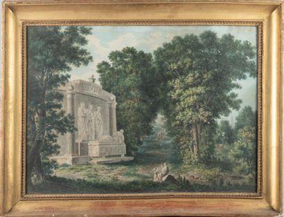 Grand dessin avec un sarcophage dans la campagne...