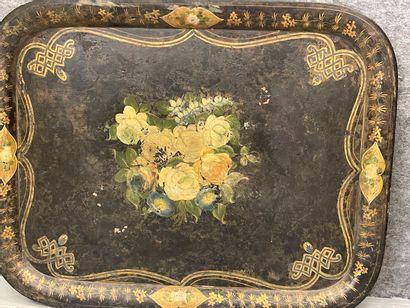 Grand plateau en tole peinte Napoléon III  86 x 66 cm