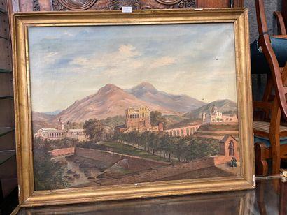 Paysage de village en Italie  huile sur toile...