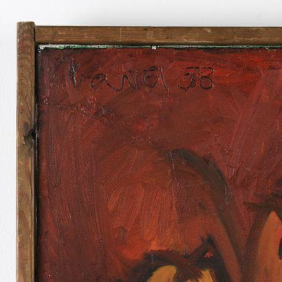 VAVA (XX ème)  Die Heide  Huile sur toile  Signé, daté et situé au dos  1958.  H...