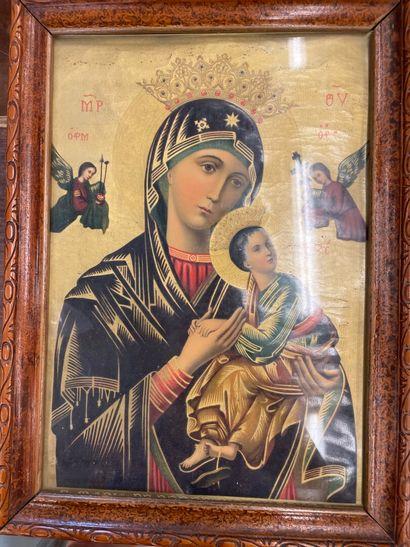 Pièce encadrée Vierge noire cadre en bois...
