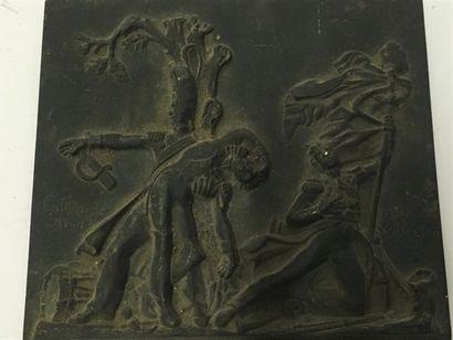 Plaque rectangulaire en bronze  Souvenir...