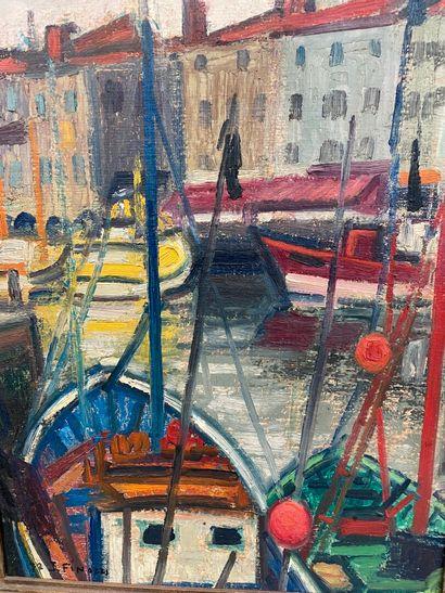 Jean FINAZZI (1920-1971)  Port de la Rochelle  Huile sur toile  55 x 38 cm