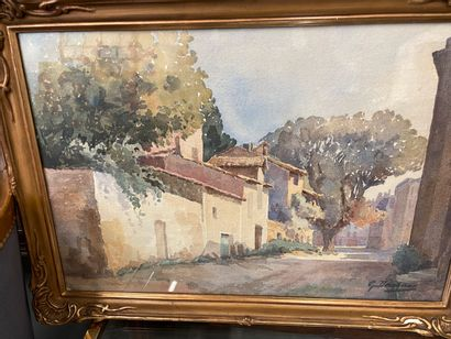 Paire d'aquarelles  Vue de village, signé Guillecoborne ?  38 x 57 cm