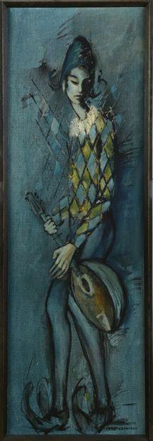 René CAZASSUS (1932)  Arlequin  Huile sur...