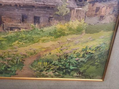 Antoine BARBIER  Vue de montagne  Aquarelle  28 x 37 cm