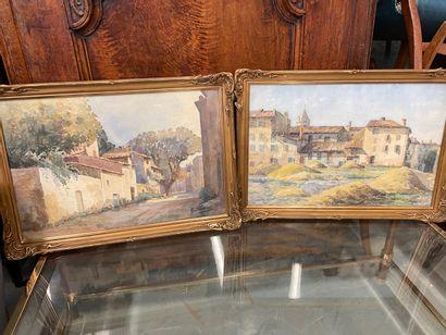 Paire d'aquarelles  Vue de village, signé...
