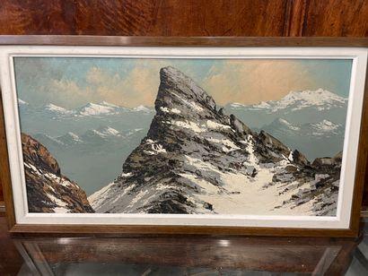 Paul GOBERT  Aiguille d'Arves  Huile sur panneau  Signée  29 x 67 cm