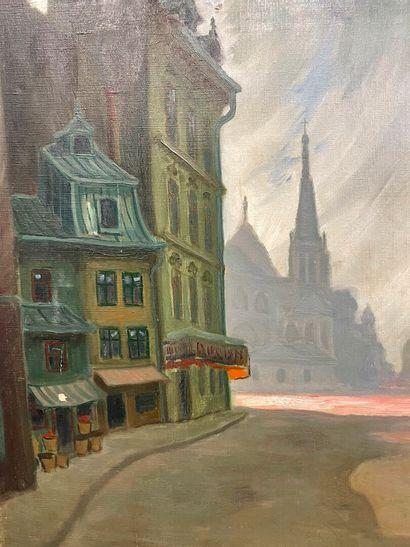 ZORDAY  Vue de Lyon  Huile sur toile  Signé...