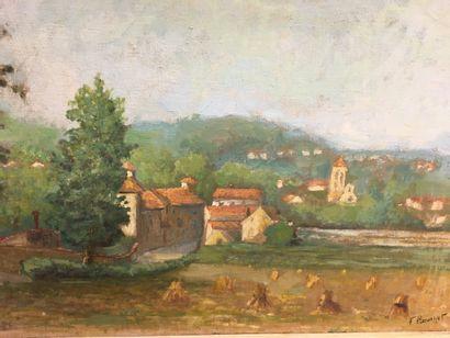 F BOUCHET  Deux paysages  Huile sur panneau  38 x 54 cm