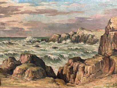 PAUPORTE  Marine  Huile sur toile  37 x 55...