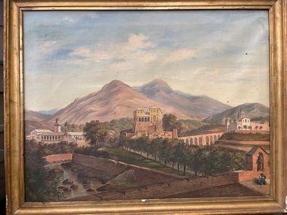 Paysage de village en Italie  huile sur toile  65 x 83 cm
