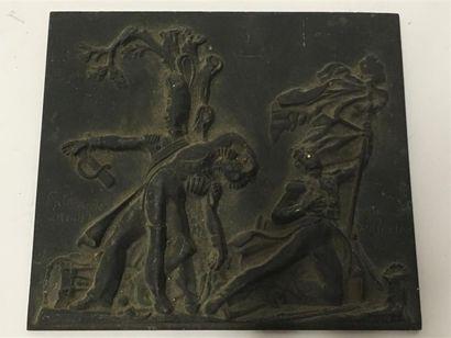Plaque rectangulaire en bronze  Souvenir de la garde impériale à Waterloo  15 x...